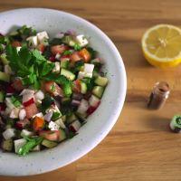 israeli kofta with tahini + salad